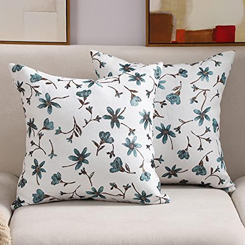COFEDE Kissenbezüge 45 x 45 cm Kissenbezug Blumen Jacquard Dekorative Kissenhülle mit Unsichtbarem Reißverschluss für Sofa Couch Wohnzimmer Draussen,2er Set,Blau