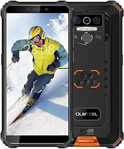 OUKITEL WP5 Pro 4G (2021) Outdoor Smartphone ohne Vertrag,5.5 Zoll 8000mAh Akku MTK6762 4GB + 64GB,IP68 Robustes Handy,Android 10.0,Triple Kamera,Gesichtserkennung(Orange)