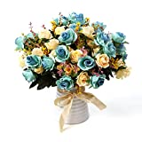 Artificial Rose Bouquets with Ceramics Vase Fake Silk Rose Flowers Decoration for Table Home Office Wedding-Blue