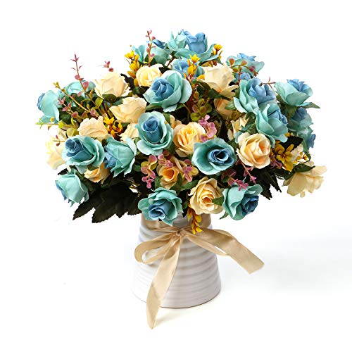 LY EMMET Artificial Rose Bouquets with Ceramics Vase Fake Rose Flowers Decoration for Table Home Office Wedding-Blue