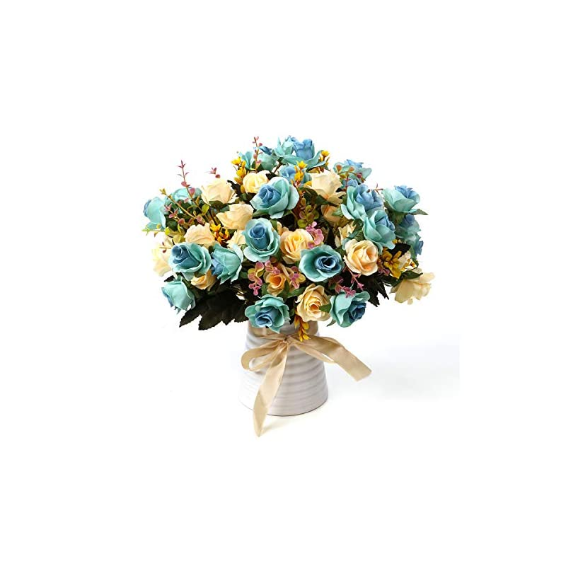 silk flower arrangements ly emmet artificial rose bouquets with ceramics vase fake rose flowers decoration for table home office wedding-blue