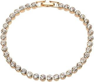 Luxurious Full Rhinestone Decor Women Bracelet for Wedding Dresses Bling Crystal Party Jewellery (Gold)