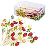 200 Pieces Mix-Colored Tropical Cocktail Picks Hawaiian Theme Fruit Kabob Skewer Toothpicks Cactus Pineapple Watermelon Leaf Bamboo Toothpicks for Hawaiian Party Food Garnish Skewer Sticks, 4.7Inch
