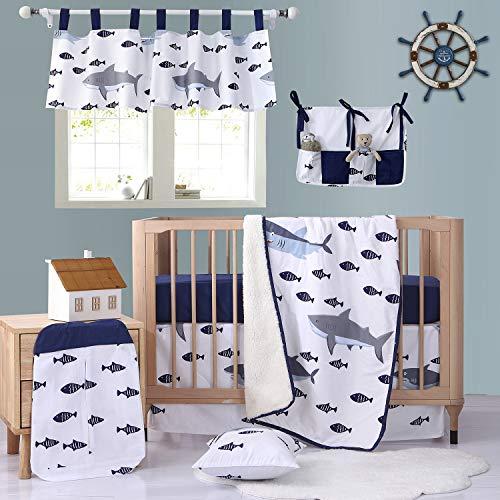 Brandream Nautical Shark Crib Bedding Sets for Boys Ocean Whale Baby Bedding Crib Sets Navy Blue Fish Printed 8PCS, 100% Cotton HOT Gift