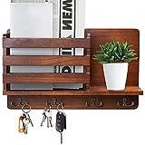 Lemougree's - Llavero con estante de madera para la pared, incluye compartimento para el periódico, perchero vintage