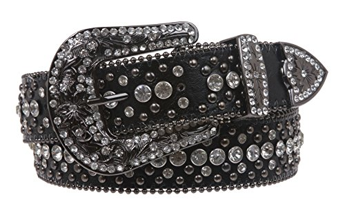 Snap On Rhinestone and Gun Metal Color Circle Studded Leather Belt, Black | 38