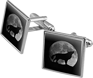 Wolf Howling Moon Silhouette Square Cufflink Set - Silver or Gold