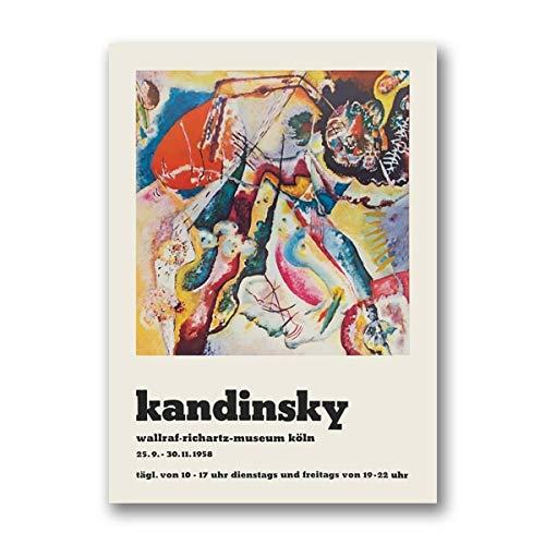 Póster de Wassily Kandinsky Vintage 1960's Galerie Berggruen Exhibition Museum lienzo impreso abstracto sin marco lienzo K 60x90cm