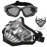 Set di maschere e occhiali per softair con teschio in rete, maschera protettiva a metà viso, con protezione per occhiali da vista per softair e occhiali con fascia elastica per giochi CS (nero)