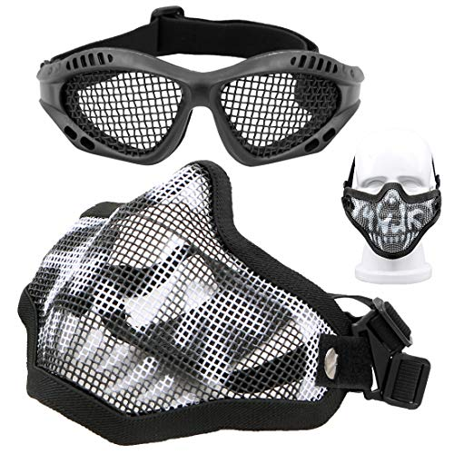 Juego de máscara y gafas de Airsoft, máscara de malla de calavera, máscara protectora de media cara con gafas Airsoft, protección de ojos con banda elástica para juegos CS al aire libre (negro)