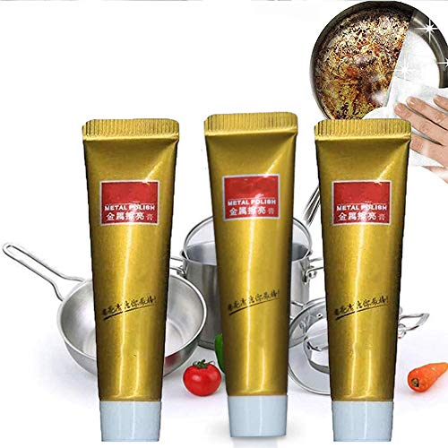 FWS 3-Pcs, All Metal Polish Cream, Stainless Steel Cleaner- Auto Polish, Rust Remover Gel for Metal,Paste Powerful Cleaner for Metal Car Kitchen Jewelry
