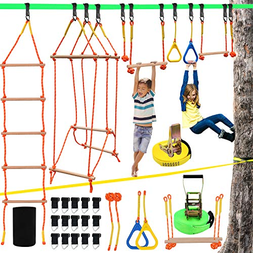 Ninja Warrior Obstacle Course for Kids, Slackline Kit 50' with 8 Accessories - Monkey Bars, Gymnastics Rings, 68