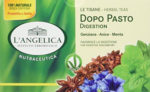 L'Angelica, Tisana Funzionale Dopo Pasto Digestiva, a Base di Genziana, Anice e Menta, Senza Lattosio, Vegan, 10 Confezioni da 20 Filtri Ciascuna