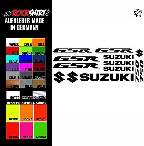myrockshirt® Aufkleber Set matt schwarz Suzuki GSR 750 Aufkleber Set Sticker Decal kit 4712