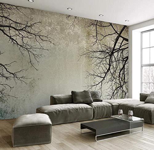 Papel Pintado 3D Retro Árbol Rama Cielo Minimalista Nórdico Fotomurales Pared Dormitorio Papel Pintado Fotográfico Mural
