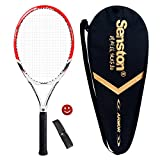 Senston Adult Tennis Racket Prestrung Tennis Racquet 27 inch Strung with Cover,Tennis Overgrip, Vibration Damper(Red)