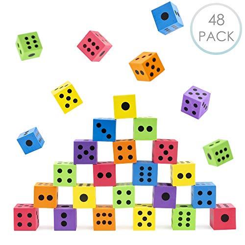 48 Große Schaumstoffwürfel Standardwürfel Würfel und Zubehör in verschiedenen leuchtenden Farben - Leichtgewichtig & leicht zu werfen, ein Sortiment an Spielen - ideales Innenspielzeug für Kinder