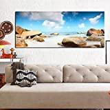 wZUN Impresión HD Paisaje Cielo Nube Piedra Vista al mar Pintura al óleo Cartel Pared Arte Imagen decoración del hogar 60x120 Sin Marco