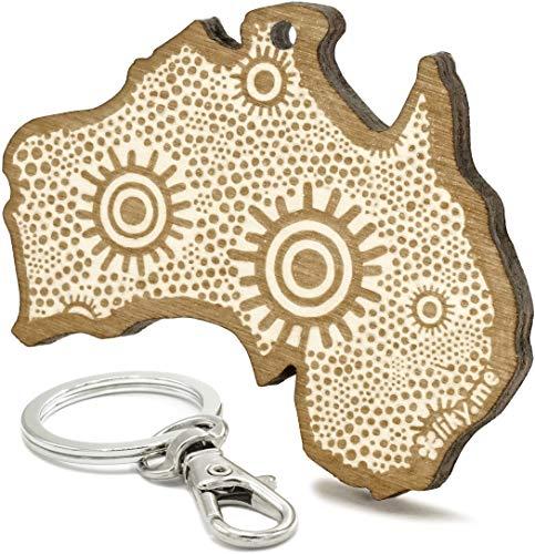 LIKY® Australia Continente - Llavero Original de Madera Grabado Regalo Mujer Hombre cumpleaños pasatiempo joyería Colgante Bolso Mochila