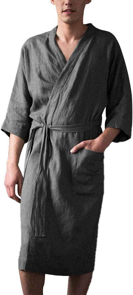 Men's Bath Robe Men Short Sleeved Long Bathrobe Home Clothes Linen Pajamas Robe Lounge Wear Home Robe Male Loungewear Sleepwear,Gray,4XL