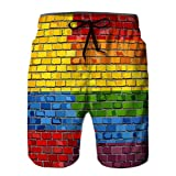 Yuerb Men Summer Quick Dry Beach Shorts Board Shorts Brick Wall Colombia and Gay Flags