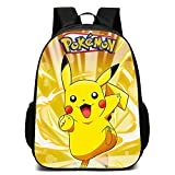 Tylyund Mochilas Anime Pokemon Go Juego Mochila Escolar Lona Pikachu Adolescentes Mochila Anime Mochila Hombres Mujeres Mochila Escolar