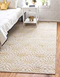Unique Loom Marilyn Monroe Glam Collection Textured Geometric Trellis Area Rug_MMG002, 8 x 10 Feet, White/Gold