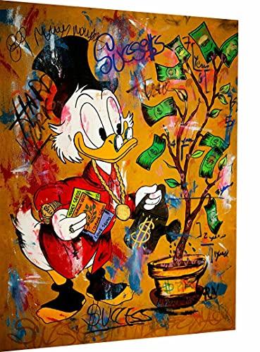 Magic Canvas Art - Bilder Dagobert Duck Pop Art Leinwandbild 1- teilig Hochwertiger Kunstdruck modern Wandbilder Wanddekoration Design Wand Bild, Größe: 60 x 40 cm