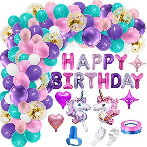 Décoration anniversaire licorne, 114pcs guirlande ballons décoration filles, ballons de confettis blancs roses violets/ballons en latex/ballons en aluminium pour mariage fête soirée baptême