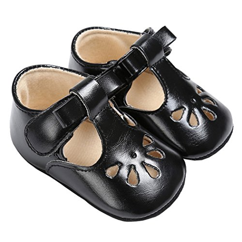 Baby Girls Christening Baptism Mary Jane Soft Sole Classic Hollow Princess Dress Flat Shoes Black Size L