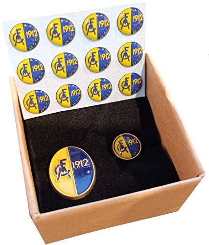 GG Modena F.C. 1912 - (Modena Football Club 1912-2017) - 2 Spille Pin Badge in Metallo + 12 Micro Adesivi in Rilievo - Articolo Ufficiale Vintage da Collezione (By Gigliotti Group)