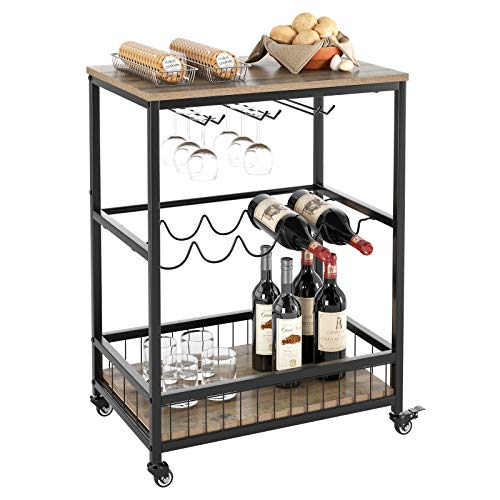 HOMECHO Bar Carts for Home, Mobile Wine Cart on Wheels, Wine Rack Table with Glass Holder, Utility Kitchen Serving Cart with Storage, Wood and Metal Frame, Rustic Brown …
