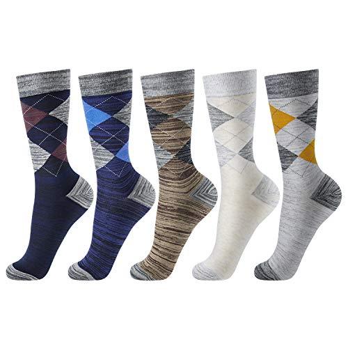 OKISS Mens Dress Cotton Socks Fashion Patterned Argyle Socks &Formal Business Socks Classic Cotton Dress Casual Socks for Men