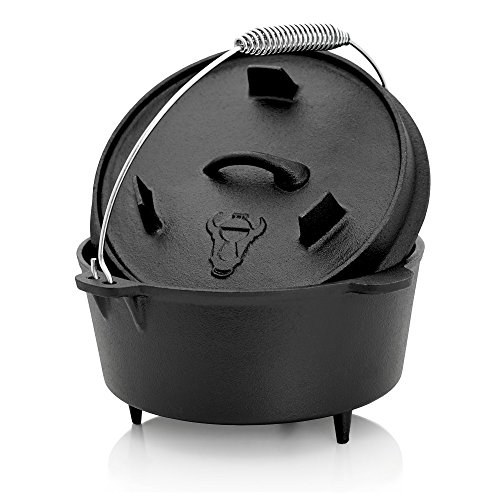 BBQ-Toro Dutch Oven Topf, 4,2 Liter Kochtopf aus Gusseisen, Gusstopf, DO45 Bräter mit Deckelheber, Deckel mit Füße, Outdoor Feuerkessel für Barbecue, Camping, Garten und Grillen