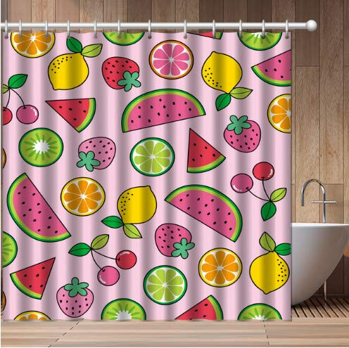 daimin Cortina de Ducha de Frutas pintadas Cortina de poliéster Resistente al Agua Baño de sandía de limón Ducha de baño 12 Ganchos180x200cm