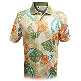 Monterey Club Men's Wooden Hawaiian Print Polo Shirt #1535 (Stone/Sage, Large)