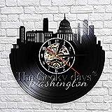 BABYCOW Seattle Washington Skyline Wall Art Decor Reloj Reloj de Pared con Registro de Vinilo