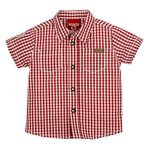BONDI BONDI Trachtenhemd Kurzarm, karo rot/Weiss 68 Tracht Baby Jungs Artikel-Nr.91125