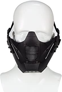 Simways Half Face Lower Mask Mesh Tactical Metal Steel Mask, Can Work with Fast Helmet, Used for Airsoft Paintball Hunting Shooting