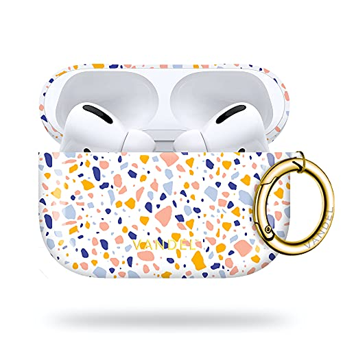 Vandel Airpods Pro Case for Women, Hard Apple AirPod Pro Case Cover with Keychain for Girls, Cool Luxury Aesthetic Designs, Apple Air Pods Protective Charging Case (Terrazzo)