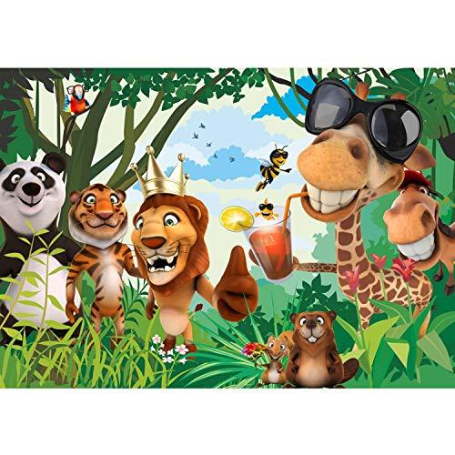 Vlies Fototapete PREMIUM PLUS Wand Foto Tapete Wand Bild Vliestapete - JUNGLE ANIMALS PARTY no.2 - Kinderzimmer Kindertapete Zoo Tiere Safari Comic Party Dschungel - no. 087, Größe:350x245cm Vlies