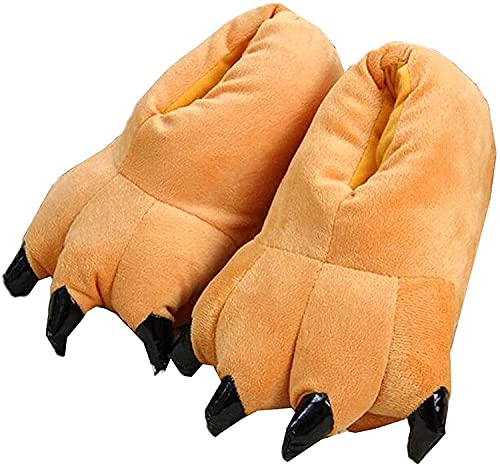 Hausschuhe Herbst Winter Plüschtier Kostüm Pfote Klaue Schuhe Männer Frauen Kinder, Cosplay Tiger Dinosaurier Bär Panda Kostüm-35-38,Brown