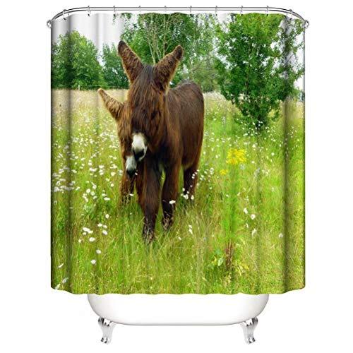 ZZZdz Netter Esel. Duschvorhang: 180 X 180 cm. Duschvorhang Badezimmer Duschvorhang Sets Polyester Bad Badvorhang Wasserdichter Stoff Tapisserie .Mit 12 Haken.