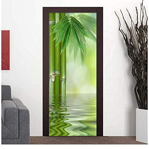 Bamboe bamboeblad rivier 3D waterdicht PVC kunst deursticker decoratieve deur muurschildering DIY muursticker 95 * 215cm