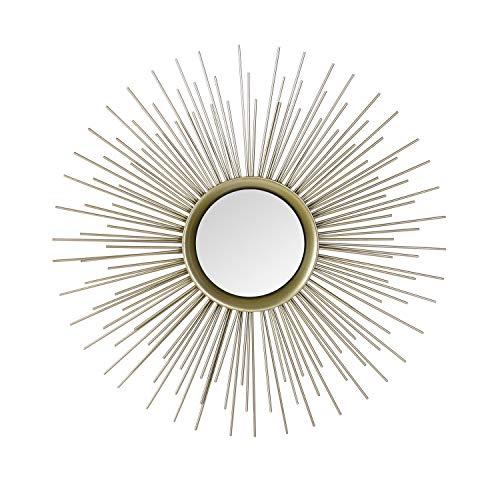 Adeco Home Collection Sunburst Mirror, Classic Metal Decorative Champagne Wall Mirror - 25.2 x 25.2 Inches