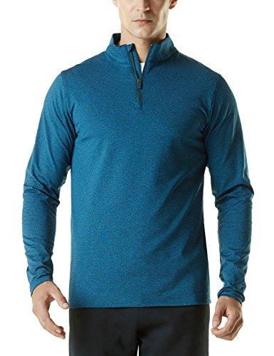 TSLA Men's Winterwear Sporty Slim Fit 1/4 Zip Fleece Lining Sweatshirt, Fleece Quarterzip(ykz01) - Heather Blue, Medium
