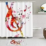 Juego de Cortinas y tapetes de Ducha de Tela,Música Arte Creativo Música Notas Ritmo Canción,Cortinas de baño repelentes al Agua con 12 Ganchos, alfombras Antideslizantes