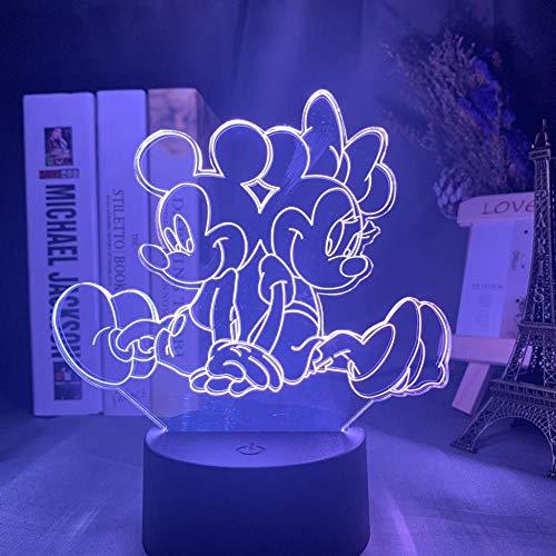 Veilleuse 3D Minnie Mickey Veilleuse 3D tactile Télécommande Acrylique Lampe décorative Chambre Lumière-Coloré Noir Base_Minnie Mickey Back To Back