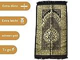 Imanpaper - Muslimische Gebetsteppich Extra dünn in schwarz Gold | Namaz-LIK Seccade, Gebets Matte | Salah Sejadah, Islamic Prayer mat Rug, für das Gebet im Islam, Idee 1,20x0,69m
