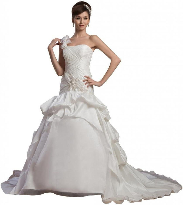 Dearta Women's ALine OneShoulder Court Train Charmeuse Wedding Dresses